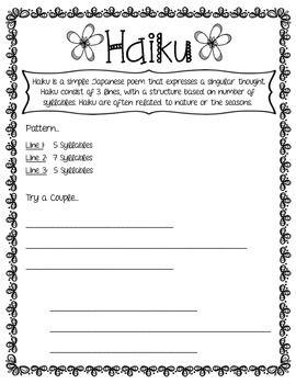 Poetry Printables: Planning, pattern, and portfolio pages for 10 types of poetry!