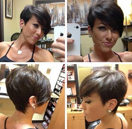 Dark Brown Pixie Cut for Short Hair