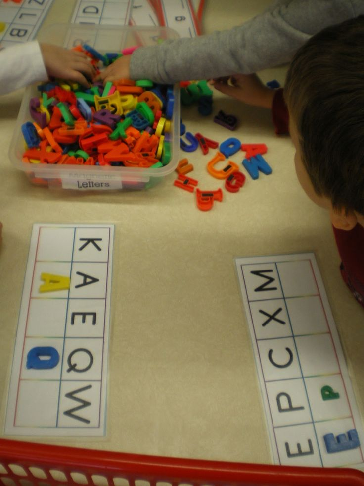 Lots of literacy and math station printables. I like this letter matching activity, although I'd do it so they spell actual words.