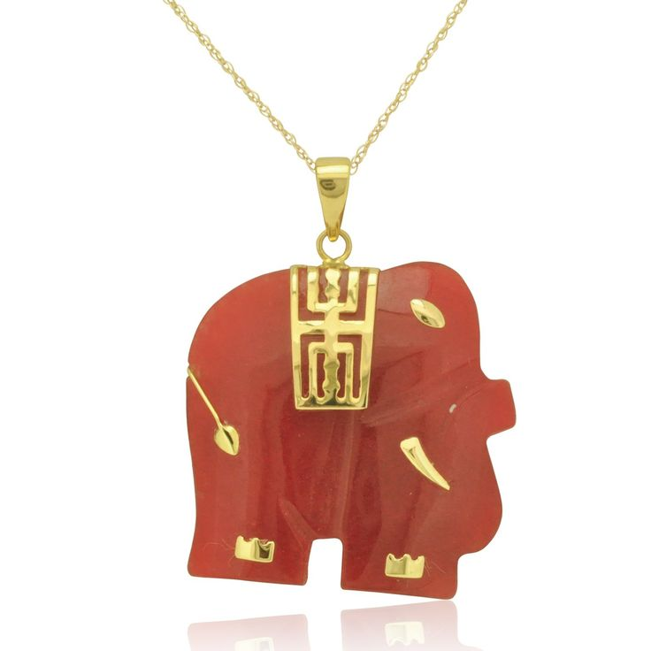 14K Yellow Gold Red Jade Elephant Pendant: