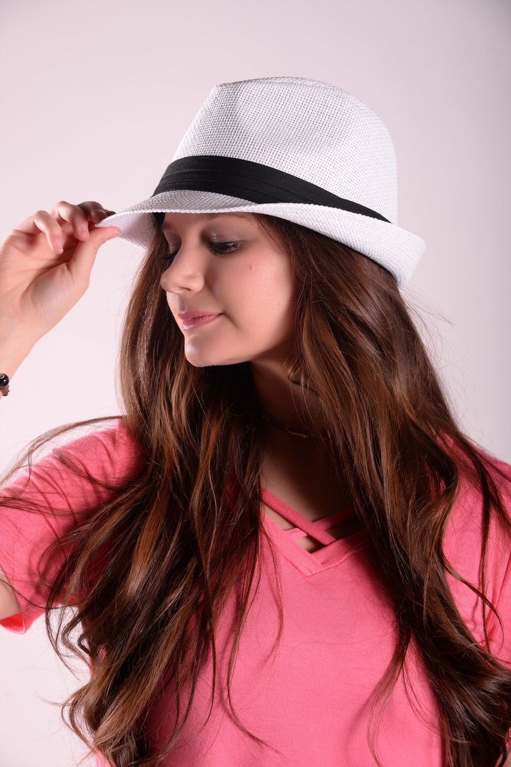 White Fedora Hat With Black Band - HAT425WH