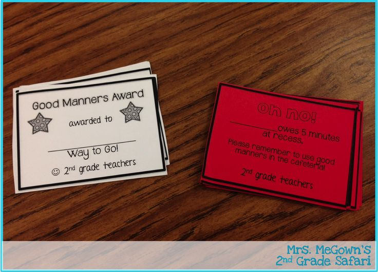 Back to School Linky: Behavior Management Hand out good manner awards at lunch