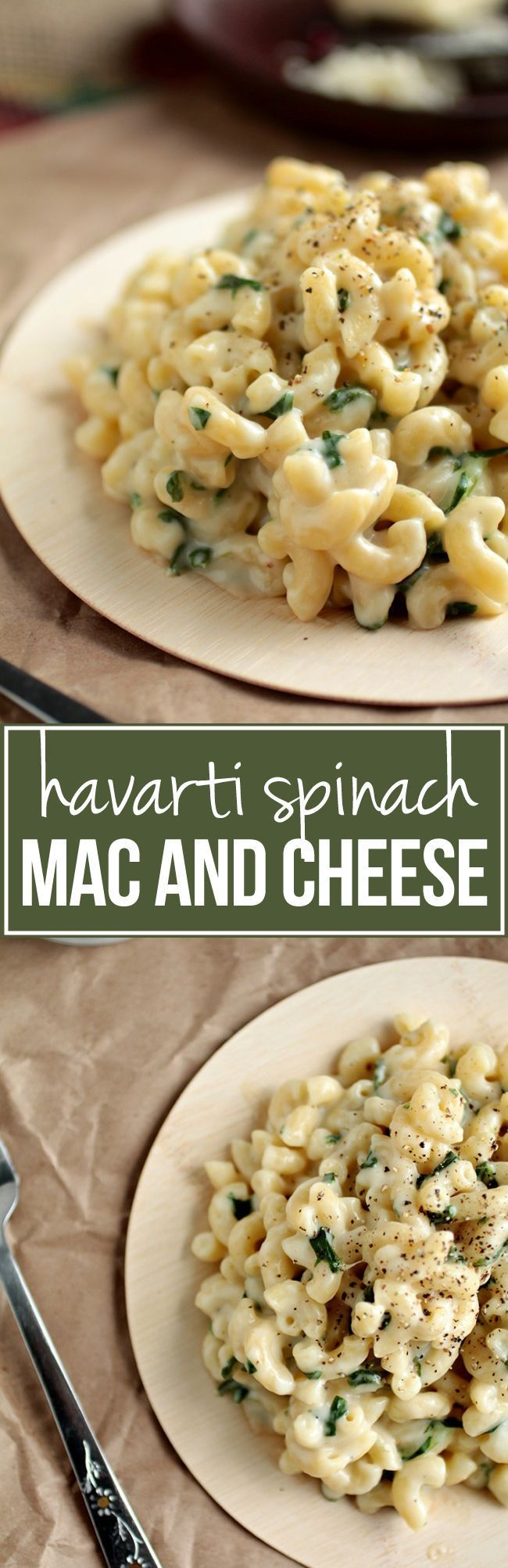 Havarti Spinach Mac and Cheese | One of my FAVORITE mac and cheese recipes! Havarti cheese makes this mac and cheese almost impossibly creamy, and fresh spinach lends a delicious fresh flavor. Ready in just 30 minutes, and vegetarian!