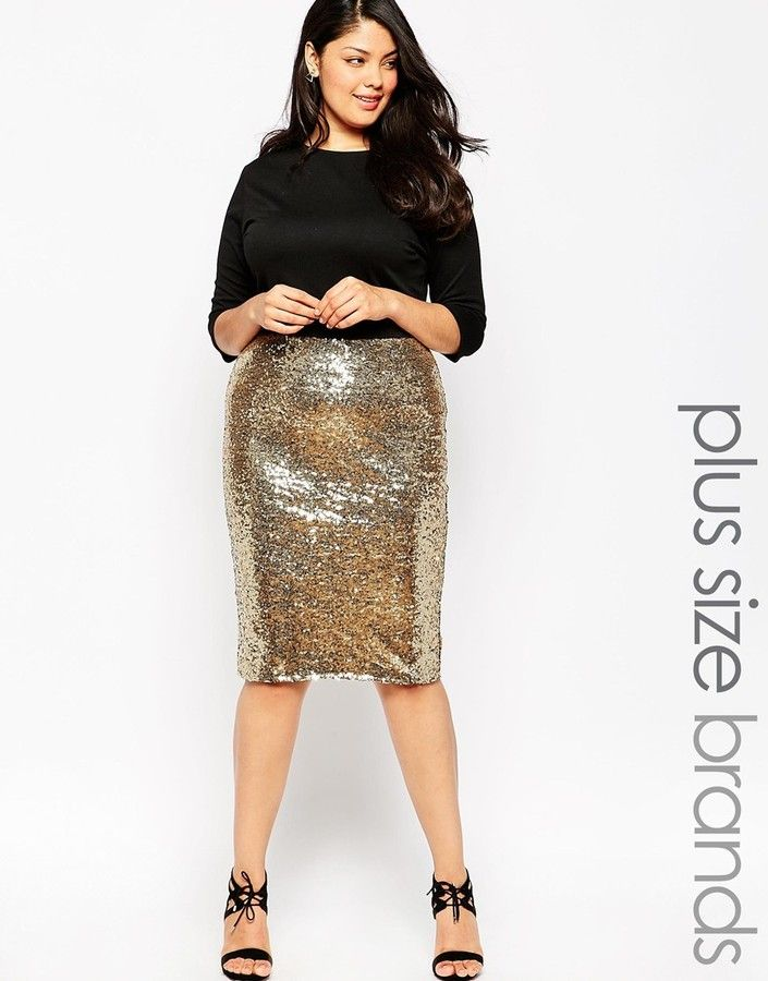 Plus Size Body-Conscious Dress With Sequin Skirt