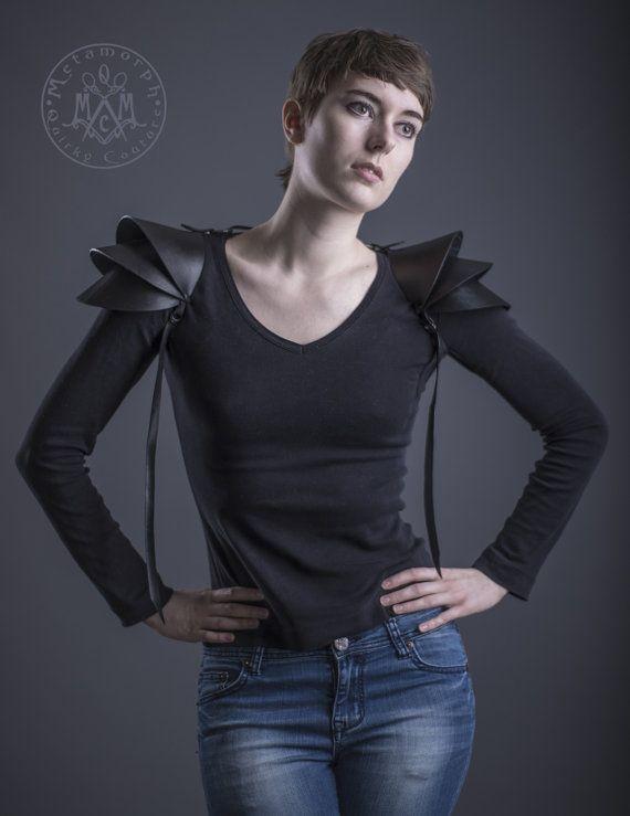 Recycled rubber Shoulder armor / 3D shoulder pads / Pauldron Shoulder piece / Edgy sculptural eco fashion spaulders / Road warrior