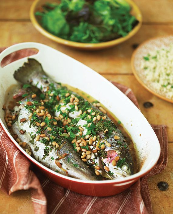 Lemon-baked Rainbow Trout with Pine Nuts