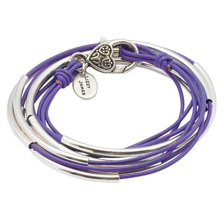 "Lizzy Classic Silverplate 3 Strand Silverplate Large Bracelet Necklace with Gloss Light Violet Leather Wrap by Lizzy James. Three Leather Strand Wrap Bracelet That Can Be Worn As A Wrap Bracelet & Necklace. FOR SIZING YOUR WRIST: If the string measures 6 5/8"" - 7"" without slack - your size is Large. Great Gift For Mother's Day, Graduations, Anniversaries, Birthdays, Christmas, Valentine's Day, Girlfriends, Moms, Grandmothers, Significant others, and more. Please Allow For Slight Leather..."