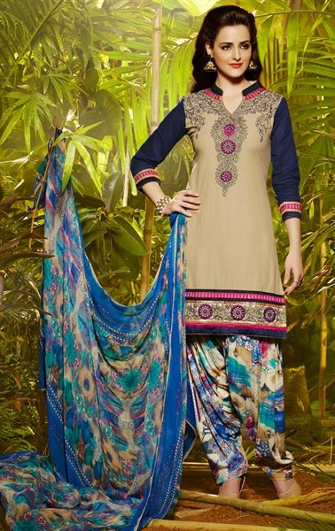 Picture of Dark Cream Color Patiala Salwar Kameez