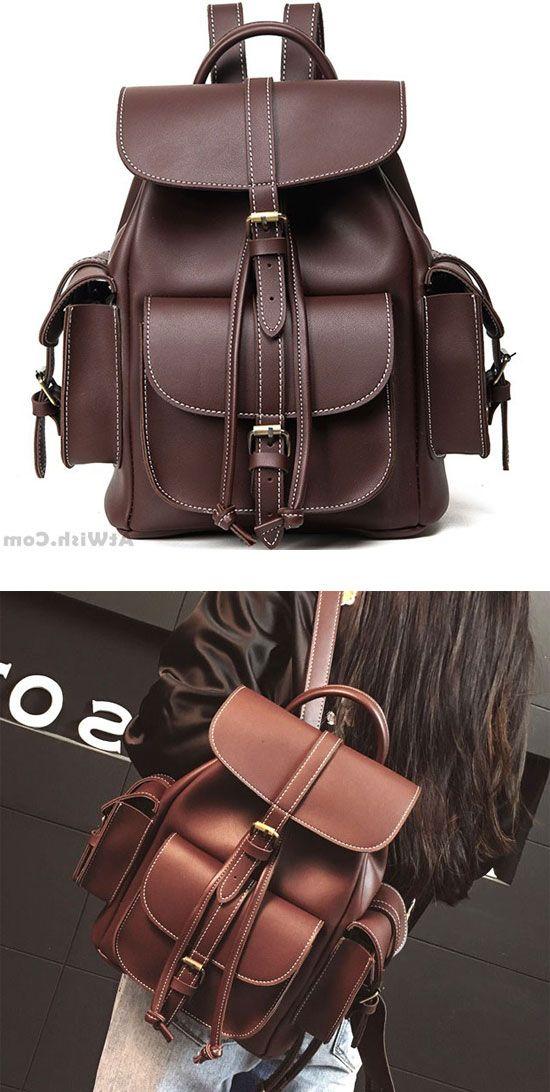 70c2c92d22c Fashion Black Three Pockets PU Smooth Large Women College Backpacks   backpack  Bag  school  college  leisure  rucksack  student