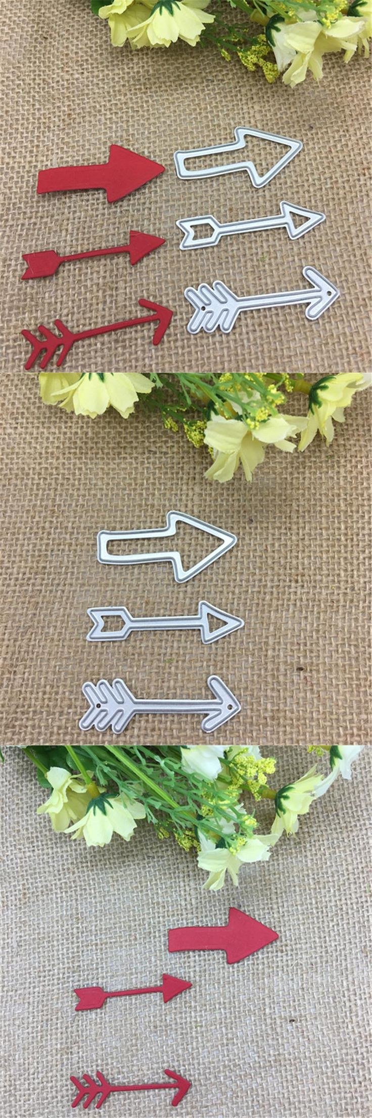 [Visit to Buy] 3 Pieces of Arrows Card Maker Metal Cutting Dies Stencil Scrapbooking Photo Album Card Paper Embossing Craft DIY #Advertisement