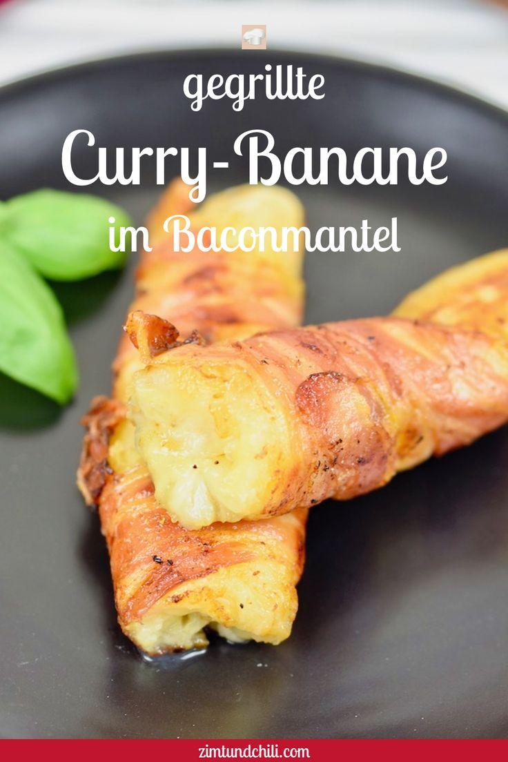 Gegrillte Curry-Banane im Baconmantel