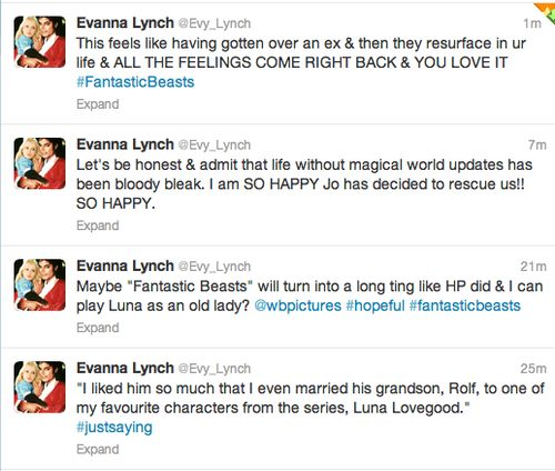 Evanna Lynch's (actress who plays Luna Lovegood) reaction to the announcement of the new Fantastic Beasts and Where to Find Them movie