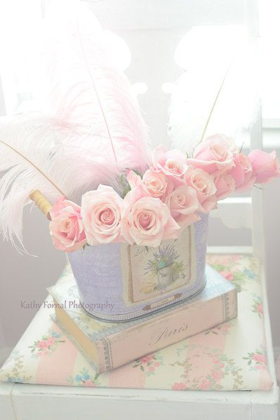 Shabby Chic Roses Pink Roses Photography Still Life by KathyFornal, $17.00