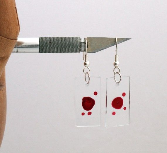 Dexter Blood glass slide earrings with individual blood samples- Halloween jewelry, gothic fashion- Unofficial on Etsy, $27.90