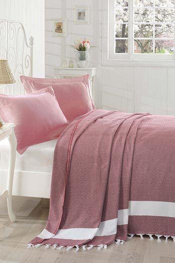 Rózsaszín pamut ágytakaró