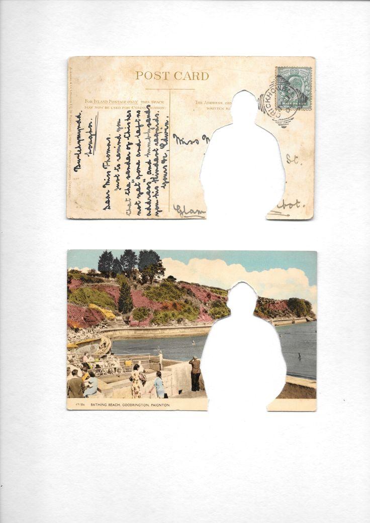 Wish You Were Here vintage postcard manipulation