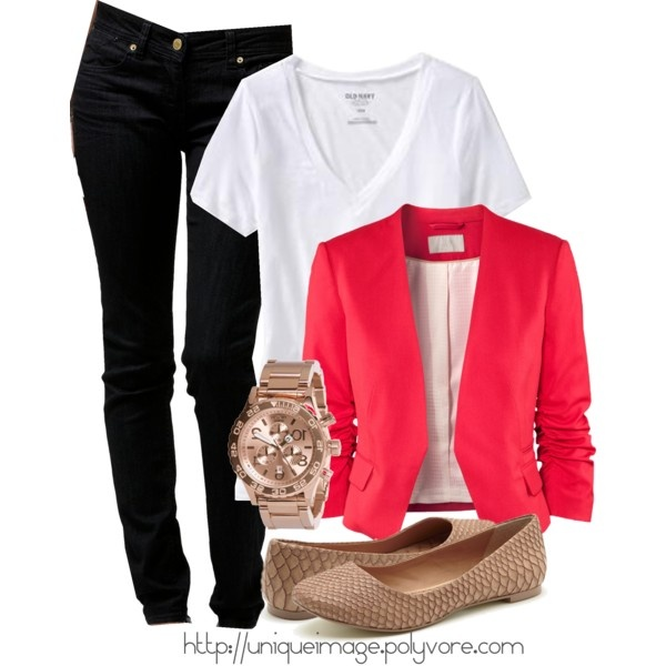 LOVE!!!: Red Blazers, Casual Chic, Color, Cute Outfits, Summer Work Outfits, Winter Fashion, Movie Night, Black Jeans, Pink Blazers