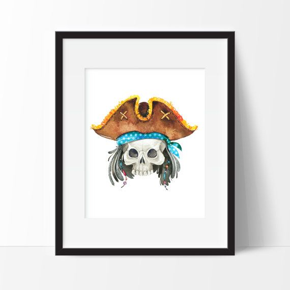 Watercolor pirate print - For your home, playroom, childs room, nursery, anywhere! During checkout please include in the notes to seller: - Choice of Pirate Character - Choice of Background Color  Print Details: 8x10 & 11x14 prints will have a small white border making it easier for framing with a mat. If you do not want this border please let us know. Prints come freshly printed to order on Ultra Premium Matte Paper or Polar Pearl Metallic Paper with Epson Ultrachrome professional archival…