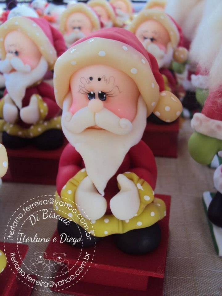 Porcelana fria biscuit navidad natal santa claus papa noel for Adornos navidenos en porcelana fria utilisima