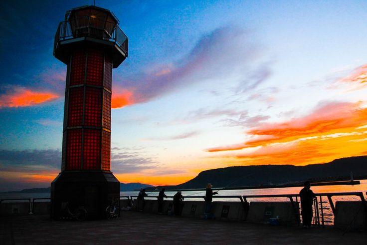 Red lighthouse. Looking for more information aboout Kagawa? Go Visit Kagawa Prefecture Tourism Association.  www.my-kagawa.jp/