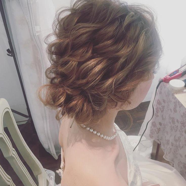 bridal hairmake✳︎ ・ ・ ・ #ブライダルヘア #プレ花嫁 #hair #ウェディングドレス #updo