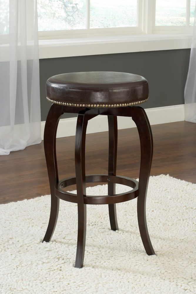 hillsdale furniture wilmington wilmington backless swivel stool in brown vinyl counter stools. Black Bedroom Furniture Sets. Home Design Ideas