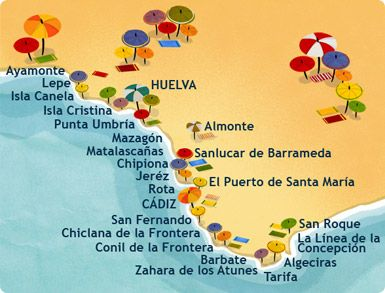 Map of Cadiz and its beautiful beaches