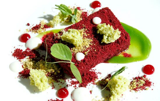 Duck liver parfait, beetroot streusel, hibiscus, almond crème, strawberries, pea sponge with golden plums and pistachio  by Richard Carstens – Tokara Restaurant, Stellenbosch