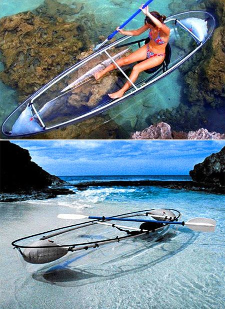 A transparent canoe. I can't decide if this would be awesome or terrifing.