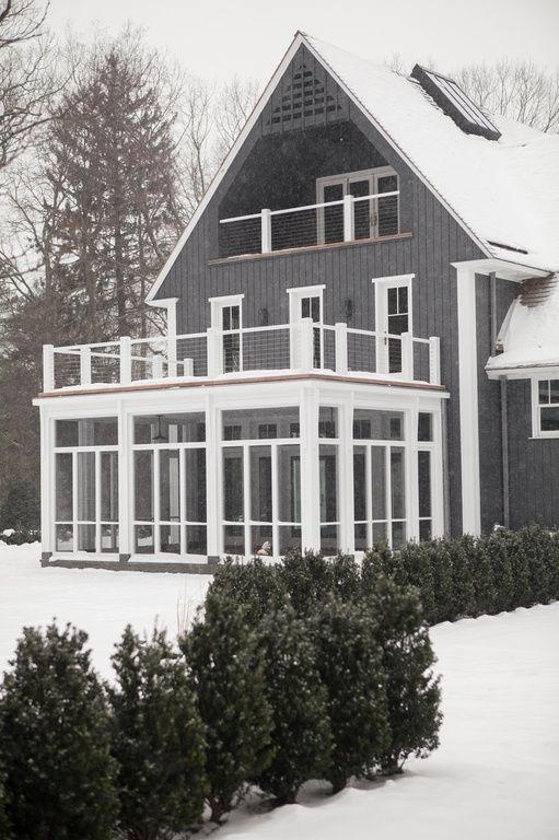 Dark Grey House With White Trim Home Exteriors Floor