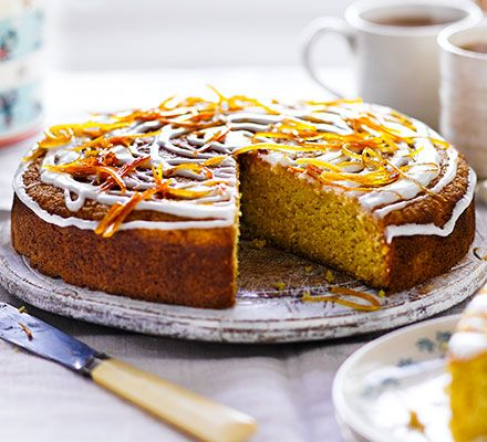 Orange & coriander drizzle cake: This fruity bake has a whole orange whizzed up and added to the batter for a zesty teatime treat
