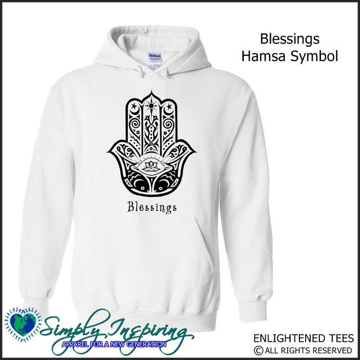 Hamsa Blessings Enlightenment New Age Hoody Sweatshirt white