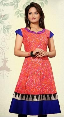 Turn up the charisma with this Tauras deep orange & royal blue cotton ready made kurti. Beautified with kasab & sequins work all synchronized well with the pattern and design of the attire. #TrendsetterTunic #CottonKurtiTunic