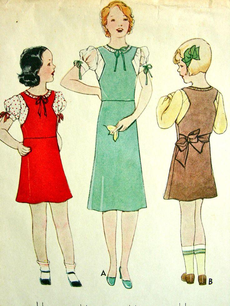 UNCUT * McCall modello di annata 1930 7142 / / affascinanti ragazze Jumper Dress e Guimpe / / taglia 10 di anne8865 su Etsy https://www.etsy.com/it/listing/183021627/uncut-mccall-modello-di-annata-1930-7142