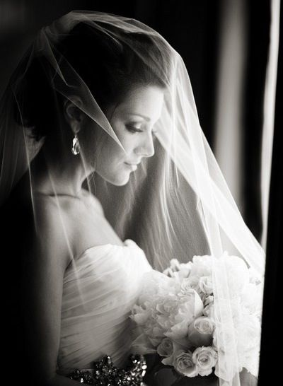 Veil over face and bouquet