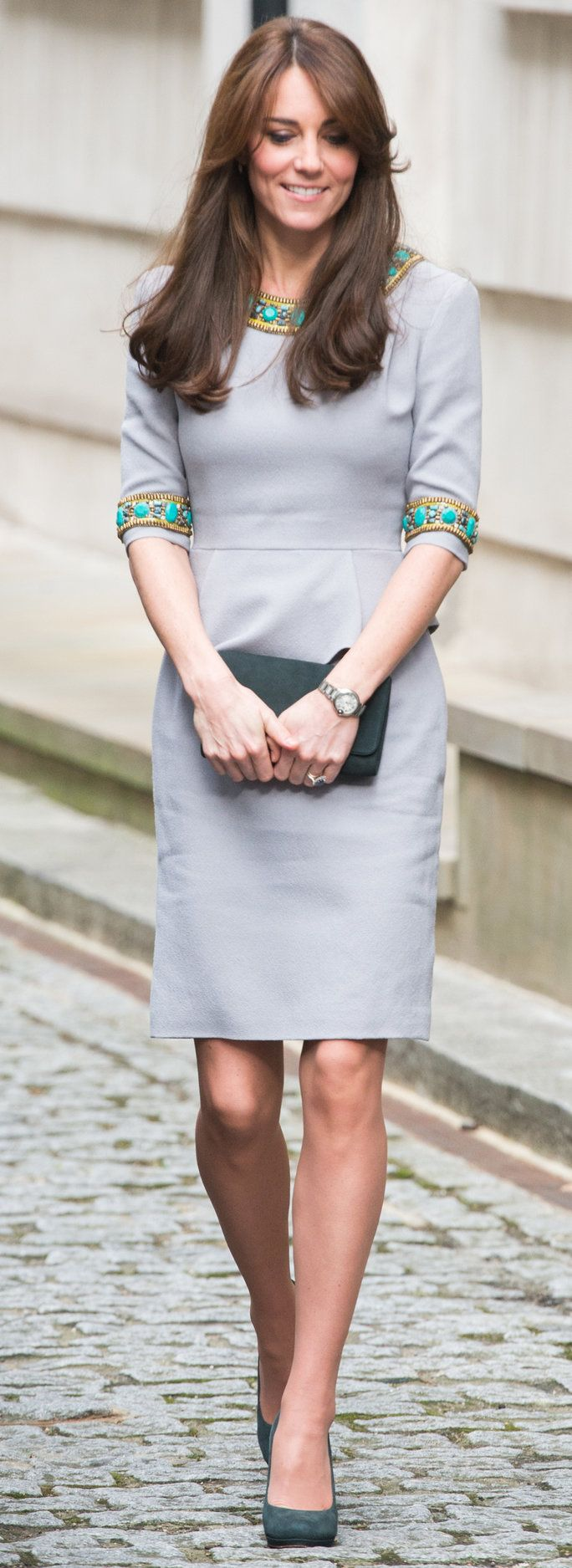 Kate Middleton wore a Matthew Williamson dress with turquoise and gold beading to the Place2Be Headteacher Conference.