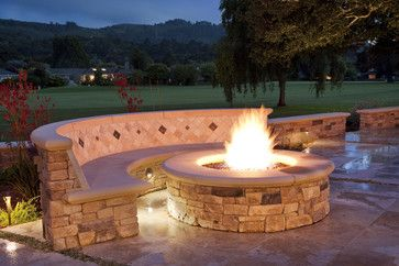 Red Brick Patios | Fire pit - traditional - patio - san francisco - by Claudio Ortiz ...