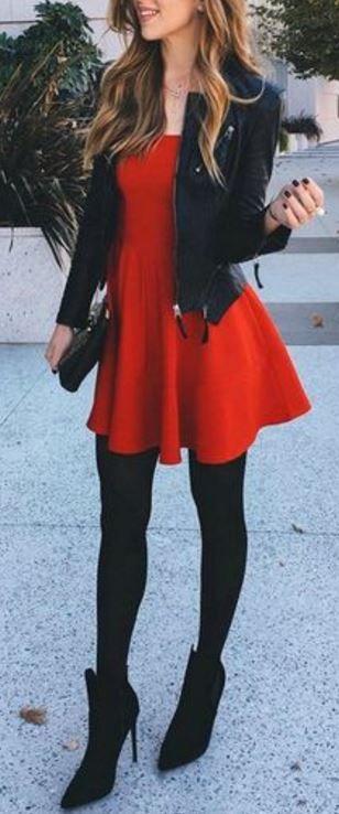 Red dress + black coat