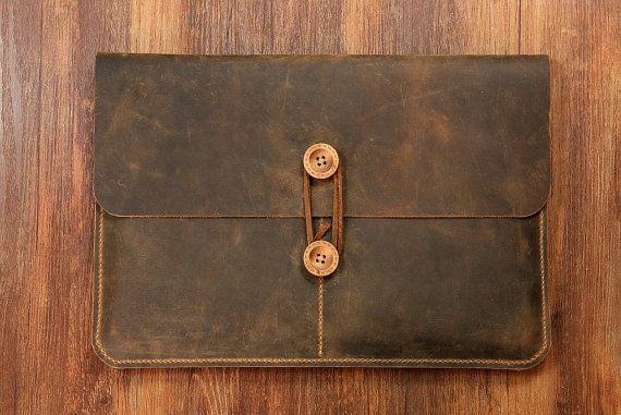 """Vintage Distressed genuine leather macbook sleeve case for new macbook 12 """" / macbook air 11 """" 13 """" / macbook pro retina cover bag MACX05C-N"""