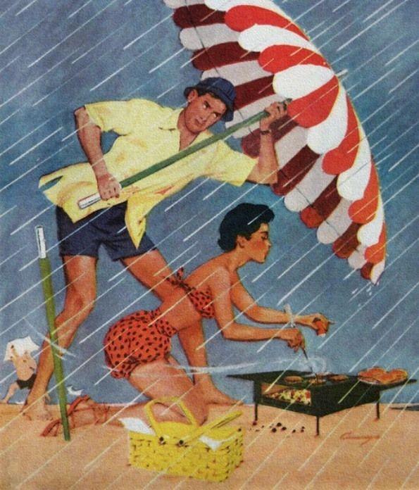 z- Beach Barbecue in Rain- 'Chicago American'- Aug, 1955