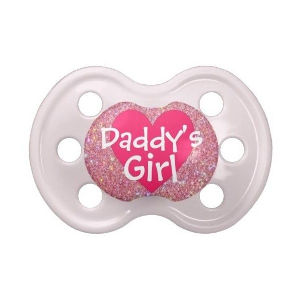 """Daddy's Girl"" Pink Sparkle Baby Pacifier ($9) ❤ liked on Polyvore featuring baby, baby stuff, baby girl, pacifiers and 56. pacifiers & teethers."