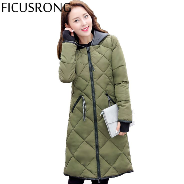 FICUSRONG 2017 New Fashion Long Hooded PARKAS Winter Jacket Women Slim Female Coat Thicken Parka Cotton Clothing CAUSAL FR625
