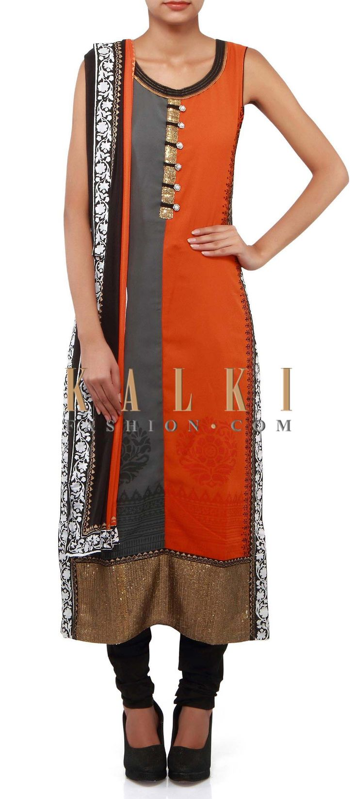 Buy Online from the link below. We ship worldwide (Free Shipping over US$100). Product SKU - 302334. Product Link - http://www.kalkifashion.com/orange-and-grey-straight-suit-adorn-in-sequin-placket-only-on-kalki.html