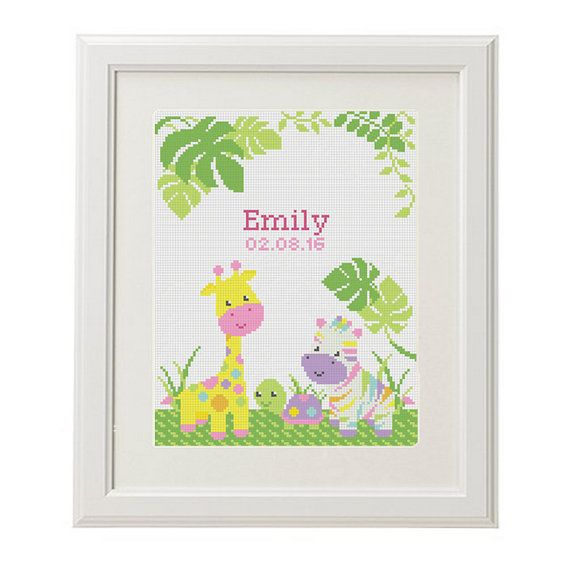 Birthday Cross Stitch pattern baby от AnimalsCrossStitch на Etsy