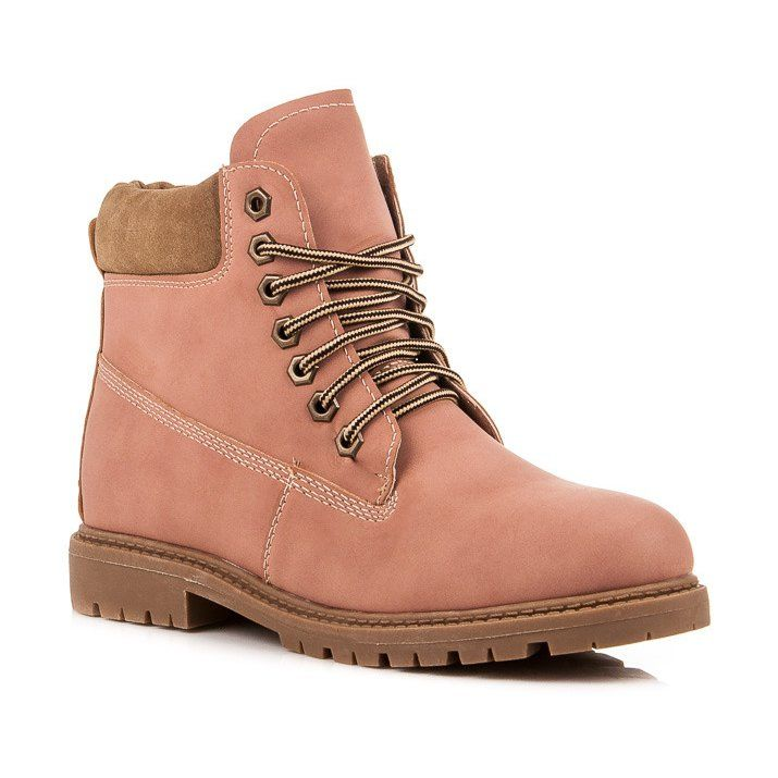 Vices New Collection Traperki Rozowe Boots Boot Shoes Women Shoes Women Heels
