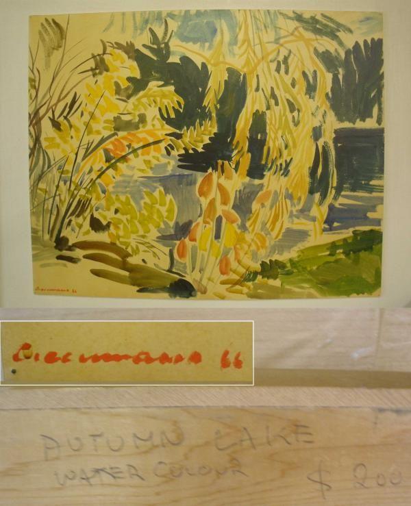 Autumn Lake, 1966, Richard Ciccimarra, watercolour, Victoria, British Columbia, Canada.
