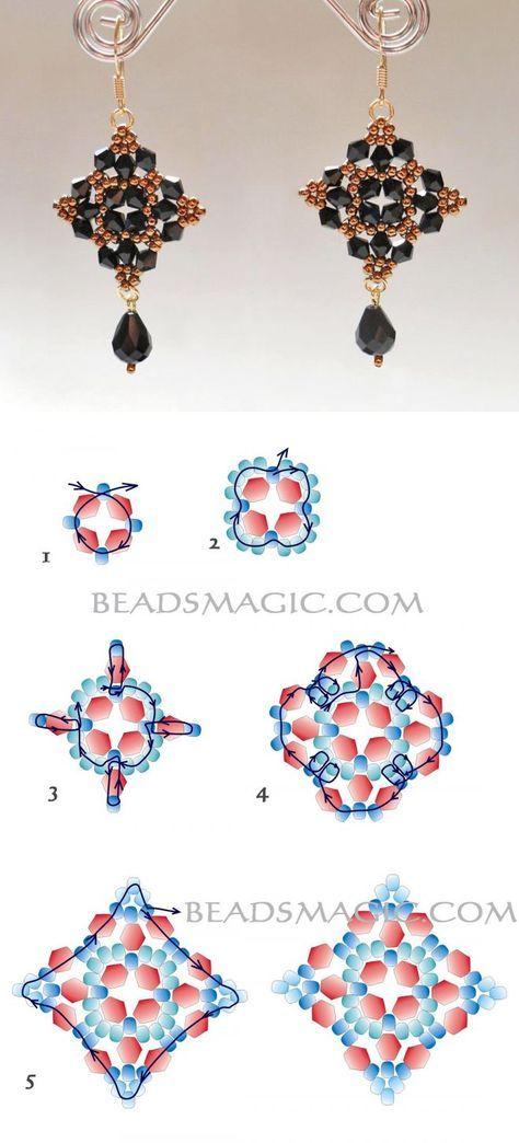 Free pattern for beautiful beaded earrings Mia | Beads Magic