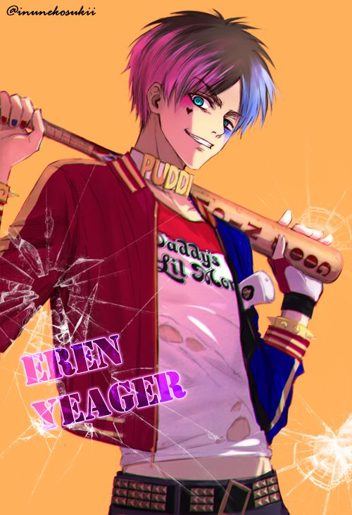 Attack on Titan x Suicide Squad Crossover | Eren dressed as Harley Quinn | Lena_レナ (@inunekosukii)
