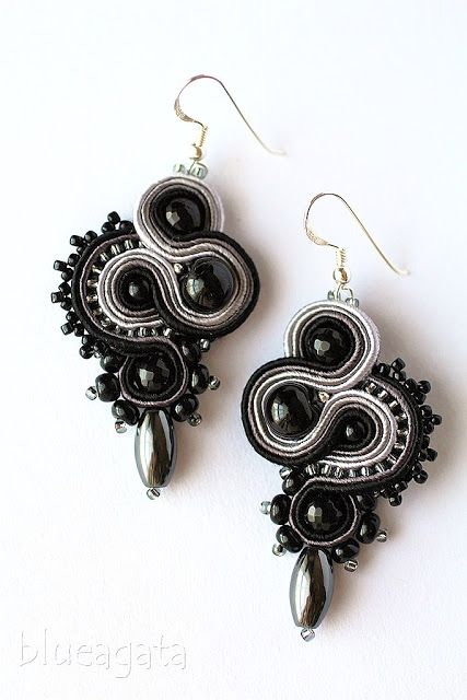 blueagata: Black&grey soutache earrings with hematite, http://blueagata25.blogspot.com/2017/05/czarno-szare-kolczyki-czyli-klasyka-i.html