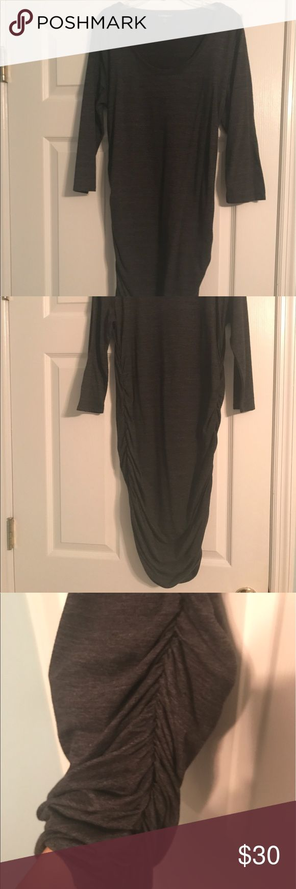Express Charcoal Grey Dress Tshirt style dress that cinches at the bottom, very figure flattering Express Dresses Midi